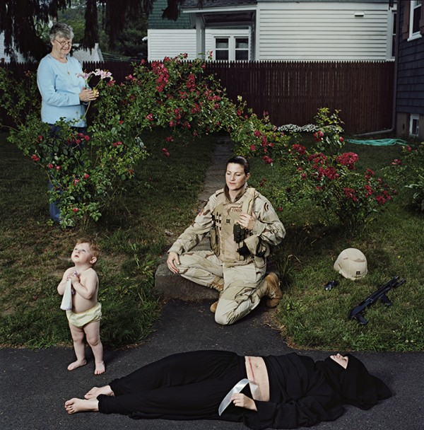 Jennifer Karady, Captain Elizabeth A. Condon, New York Army National Guard, veteran of Operations Iraqi Freedom, with daughter, Kate, and mother Elizabeth; Troy, NY, June 2008, Fujiflex Super Glossy optical c-print, from In Country: Soldier's Stories from Iraq and Afghanistan, © Jennifer Karady
